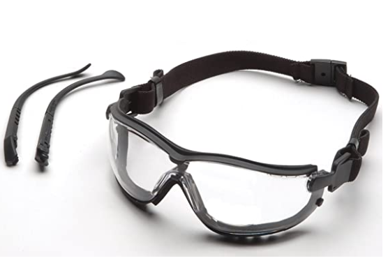 Pyramex V2G Safety Glasses, Black Frame/Clear Anti-Fog Lens