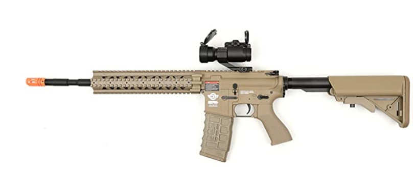 electric g&g cm16 r8-l desert tan airsoft rifle fps-450 combo w/ g-11-056 red dot scope(Airsoft Gun)