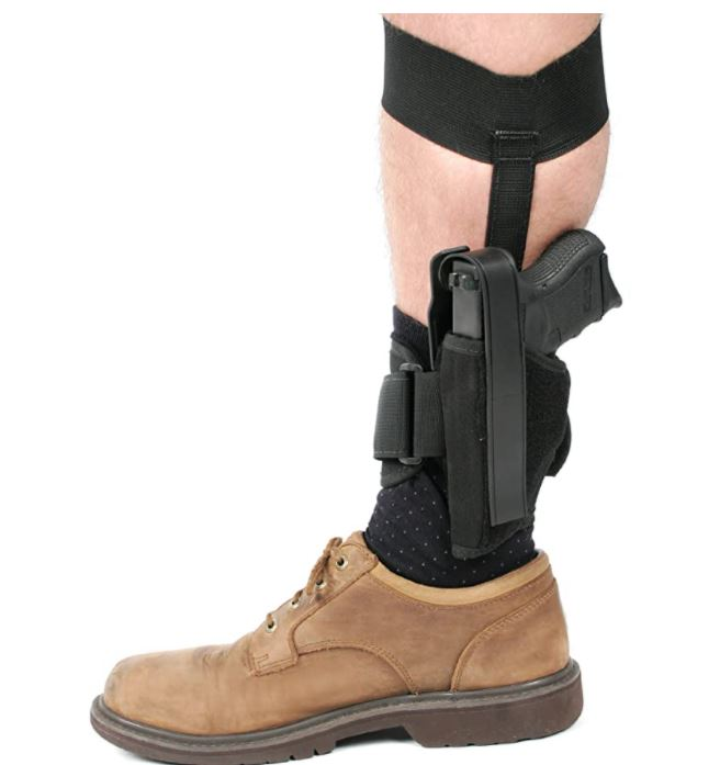 BLACKHAWK Ankle Holster, Black/Size 12, Right Hand